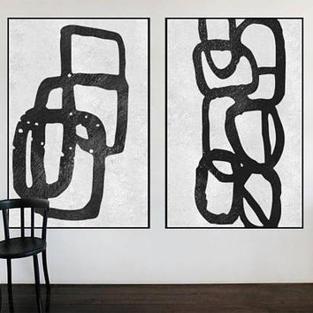 large original art Abstract Painting on canvas extra Large wall art Black and White art Set of 2 pieces acrylic painting home decor