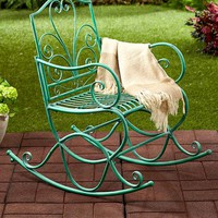 Rocking Chair Rocker Iron Outdoor Porch Patio Wide Seat Solid Country Rustic