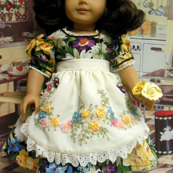 "Historical American girl doll clothes ""Flowers in the Kitchen""  vintage girls dress 1950's dress (18 inch) OOAK Apron ribbon flowers"