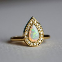 Opal Engagement Ring with Pave Diamond Ring, 18k Solid Gold | Capucinne
