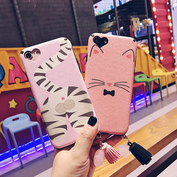 For iPhone 7 Case silk Pink Cute Cat Star Black Matte Soft TPU Plastic Back Case for iPhone 7 6 6S Plus Phone Cases Tassel Cover -03129