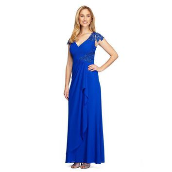 Alex Evenings - 132860 Embroidered Side Cascade Long Gown