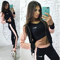 Nike Popular Women Casual Long Sleeve Splicing Show Thin Sports Running Hooded Three Piece Suit Pink I13146-1