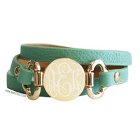 Monogrammed Mint Leather Wrap Bracelet | Accessories | Marley Lilly