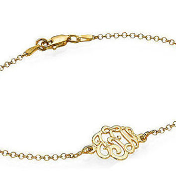 Monogrammed Bracelet made out of 18k Gold Plating over 0.925 Sterling  Silver and hangs on an a11ef96f6811