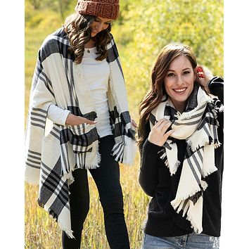 Grace & Lace Winter Weight Pocket Poncho/Scarf (White/Black)