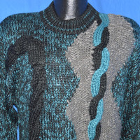 80s Abstract Chunky Cable Knit Pullover Sweater Small