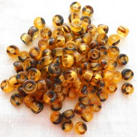 Fifty 6mm Czech tortoise shell, glass pony roller beads, large hole crow beads, C1550