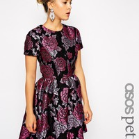 ASOS Petite | ASOS PETITE Structured Dolly Skater Dress in Floral Jacquard at ASOS
