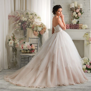 Bonny Classic 430 Strapless Lace Tulle Ball Gown Wedding Dress
