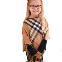 The Lucy Loo Plaid Poncho with Leatherette Trim
