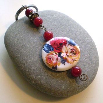 Mother-of-Pearl Flower Beads, Red Jade Beads & Rhinestone Brass Beaded Keychain, OOAK, Gift Items, Mothers Day, Keyring