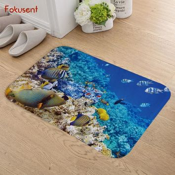 FOKUSENT Blue Ocean Series Pretty Colored Coral Reef Fish Dolphin Flannel Door Mat Factory Custom Made Floor Mat Carpets