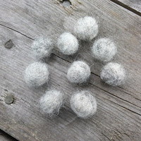 Grey Wool Beads made from Swedish Sheep's wool, 100% Wool, Needle felted balls, 15mm