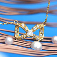 Infinity Ribbon Necklace Feminine Dignity/in Sterling Silver/CZ&925SILVER refined Ribbon
