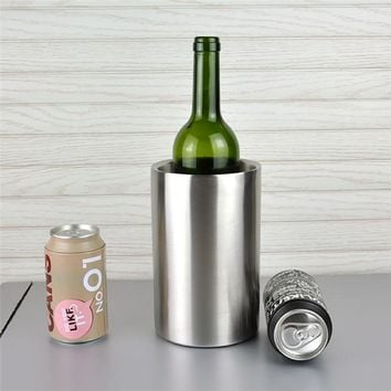 1pc Good Quality Stainless Steel Ice Bucket Wine Cooler Whisky Wort Chiller With Hot Barware Champagne Buckets