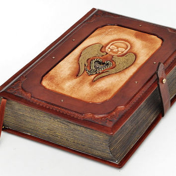 Steampunk leather journal, antique style - A Fallen Angel , approx 6.5x9inch (16x22cm), in gift box.