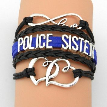 Drop Shipping Infinity Love Police Sister Bracelets- Handmade Multilayer Professional Job Family Friend Gift