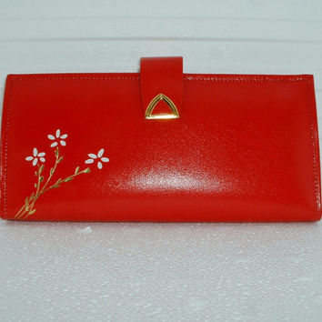 Red Cowhide Wallet with Flowers Vintage Woman's Accessory 1960's Ladies Fashion Mid Century