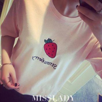 CREYON Day First Strawberry Printed T Shirt