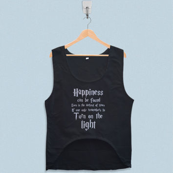 Women's Crop Tank - Harry Potter Quotes Happiness Can be Found Even in The Darkest of Times If One Remembers