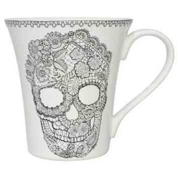 222 Fifth Set of 4 Skull Mugs 10oz Ceramic