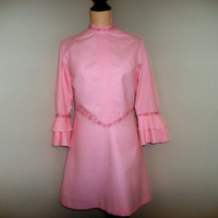 Vintage 60s Dress Mod Dress Mad Men Twiggy Dress Vintage Dresses Mod Clothing Pink Dress High Collar Size 12 Size 14 Large Womens Clothing