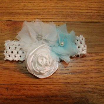 White & Turquoise headband, flower girl hair accessories, children headbands, wedding hairbows, christening, baby girl headband, photo prop