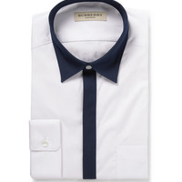 Burberry London - White Slim-Fit Contrast-Trim Cotton Shirt | MR PORTER