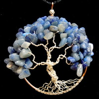 Blue Aventurine Tree of Life Necklace Silver Plated and Copper Wire