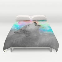 Breathing Dreams Like Air (Wolf Howl Abstract II: Grey) Duvet Cover by soaring anchor designs ⚓ | Society6
