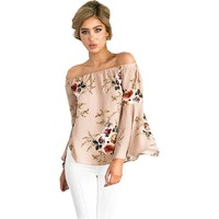 Women 2018 Sexy Women's Sexy Off Shoulder Tops Long Sleeve Blouse Casual Shirt Floral Loose Tops