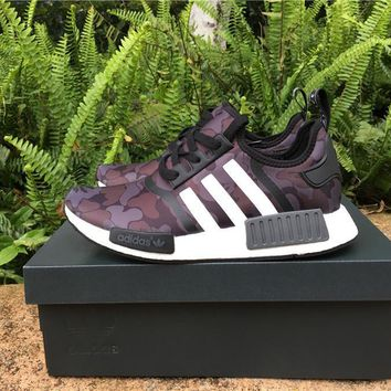 ADIDAS X BAPE PW HUMAN RACE NMD_R1 BA7325 BOOST PURPLE Running shoes for Women & Men S