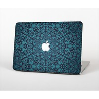 """The Teal Floral Mirrored Pattern Skin Set for the Apple MacBook Pro 13"""" with Retina Display"""