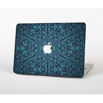 "The Teal Floral Mirrored Pattern Skin Set for the Apple MacBook Pro 13"" with Retina Display"