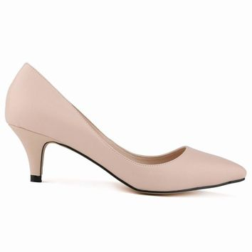 Classic Sexy Pointed Low Med Kitten Heels Women Pumps Shoes Spring Brand Design Wedding Shoes Pumps Big Size 35-42 678-1MA