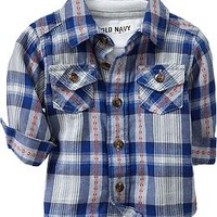 Plaid Button-Up Flannel Shirts for Baby