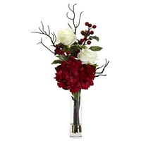 Merry Christmas Rose Hydrangea & Berries Arrangement