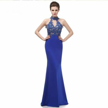Lady formal gowns high neck applique sheer back mermaid long evening dresses