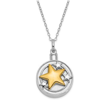 Sterling Silver & Gold Plated Star Ash Holder Necklace, 18 Inch