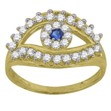 Round Cut CZ Evil Eye Ring in 10k Yellow Gold