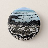 "Hawaii black sand beach & coral ""love"" heart photo pinback button"