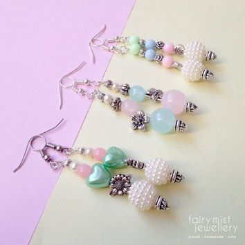 Beaded Pastel Earrings, Floral Silver Pins Earring, Long Dangle and Drop Earrings, Blue, Pink and Green, Flower and Heart Beads