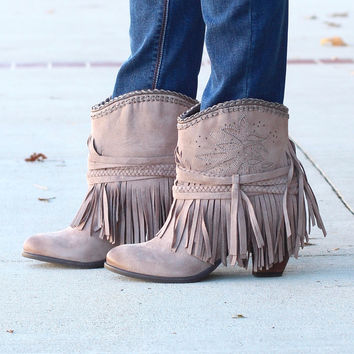 Not Rated: Kahlisi Suede Fringe Booties {Taupe}