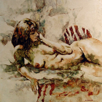 Nude On Zebra Rug Oil On Canvas