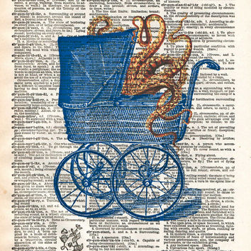 Octopus baby carriage, victorian steampunk lovecraft octopus, creepy tentacle art, dictionary page art print