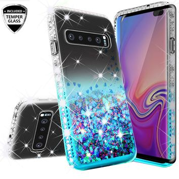 Samsung Galaxy S10 Plus Case, Galaxy S10+ Case Liquid Glitter Phone Case Waterfall Floating Quicksand Bling Sparkle Cute Protective Girls Women Cover for Galaxy S10 Plus - Teal
