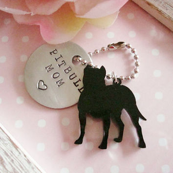 Pitbull Mom Or Dad Hand Stamped Keychain Made to order