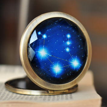 Zodiac Sign Pocket Mirror, Pick Your Sign Compact Mirror, Bridesmaid Gift Constellation Mirror Astrology Gifts