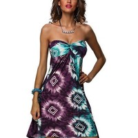 Amour- Summer Boho Maxi Retro 60s' 80s' Strapless Casual Dress Clubwear (X4194X4-M)